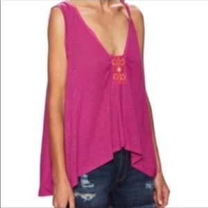 NWT Free People Oversized Tank Blouse Pink Beaded